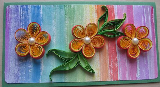 Открытка квиллинг, объемные цветы