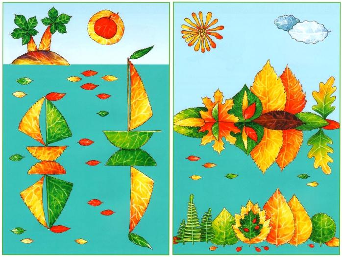 413Картина из листьев своими руками мастер класс