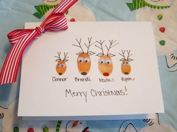 Сделать новогодние открытки с ребенком